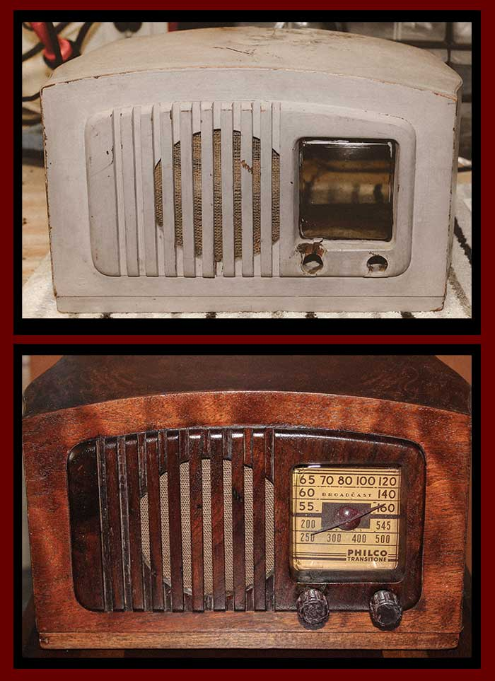 The before and after of the PT 44 radio.